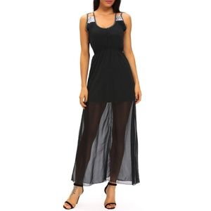 Black Sheer Mesh Overlay Sequin Accent Maxi Dress